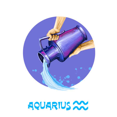 Creative digital illustration of astrological sign Aquarius. Eleventh of twelve signs in zodiac. Horoscope air element. Logo sign with water jug. Graphic design clip art for web, print. Add any text