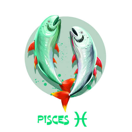 Creative digital illustration of astrological sign Pisces. Twelfth of twelve signs in zodiac. Horoscope water element. Logo sign with fish. Graphic design clip art for web and print. Add any text Stock Photo