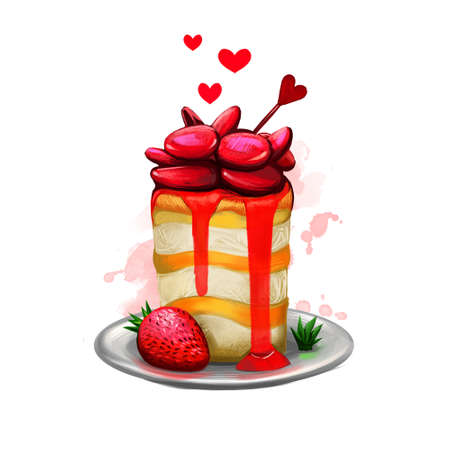 Digital illustration of tasty cake with strawberry and jam. Beautiful food presentation with crumble, hearts and paint splashes. Happy Valentines Day greeting card design template for web and print