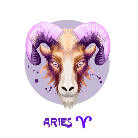 Creative digital illustration of astrological sign Aries. First of twelve signs in zodiac. Horoscope fire element. Logo sign with ram horns. Graphic design clip art for web and print. Add any text