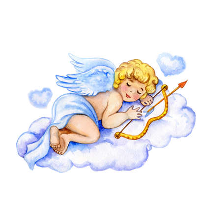 watercolor Saint Valentines card template. Cute little cupid sleeping on weightless cloud with hearts holding bow and arrow. Feast of Saint Valentine advertising element for web and print. Add text