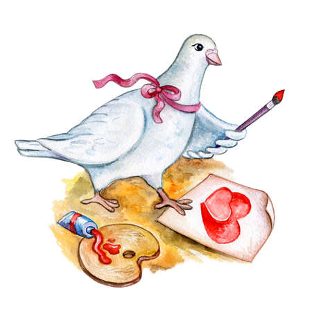 watercolor Saint Valentines greeting card template for web, print. White cartoon style dove drawing two red hearts with paint. Feast of Saint Valentine advertising element. White peace dove. Add text