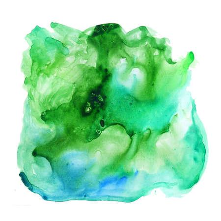 수채화 페인트 dab 흰색 배경에 고립입니다. 추상 무료 디자인 클립 아트 배경. 녹색 및 파랑 페인트 스플래시 웹에 대 한 혼합 및 흰 종이에 오버플로