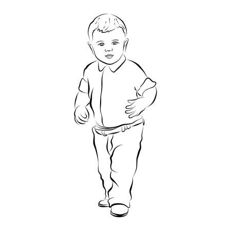eps 10 vector hand drawn silhouette of little baby boy. Cute kid dressed up in fashion clothes. Sweet child standing and looking forward. Graphic illustration clip art. Flat design