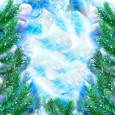Watercolor evergreen spruce framing on free paint design background. Hand drawn christmas tree with snow cap. New Year 2017 greeting card design template. Add any text. Graphic clip art illustration Reklamní fotografie