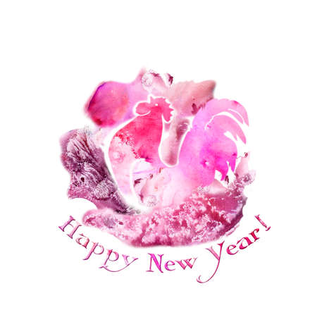 Watercolor rooster on free pink paint designs abstract background. Hand drawn chinese zodiac symbol of New Year 2017. Happy new year title. Greeting card design template. Graphic clip art illustration