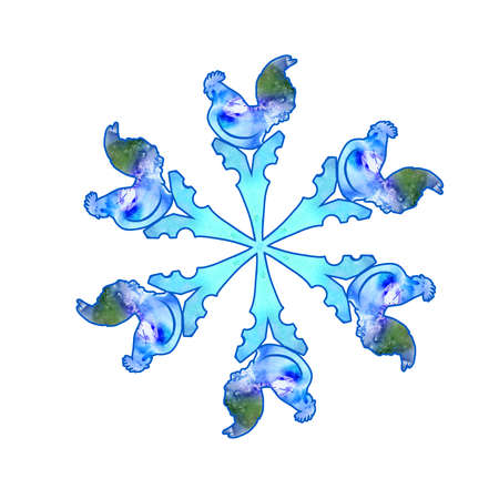 Watercolor drawing of free blue paint designs snowflake isolated on white background with hand drawn chinese zodiac symbol of New Year 2017. Ornamental element, digital framing. Greeting card design
