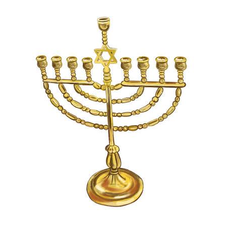 estrella de david: Acuarela menorah de oro aislado sobre fondo blanco. Hanukkiah el símbolo del día de fiesta judío Jánuca. Candelabro de oro de metal para nueve velas con el símbolo de la estrella de David. Vacaciones religiosas hebreas Foto de archivo