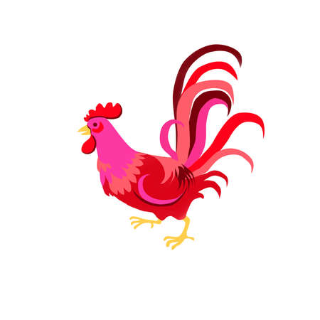 Digital illustration of rooster isolated on white background. Hand drawn chinese zodiac symbol of New Year 2017. Bird, cockerel, cock. Greeting card, new year poster or calendar cover design template