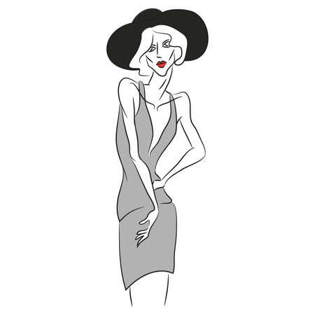 ベクトルのファッションのスケッチ。短い v 字の灰色のドレスを着て写真撮影でポーズ美しいモデル。細いボディ シルエット、黒帽子、デザイナー  イラスト・ベクター素材
