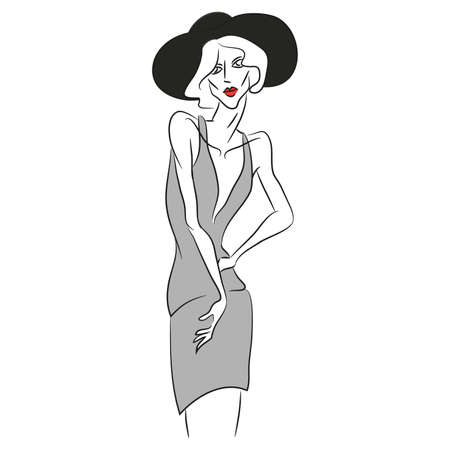 Vector fashion sketch. Beautiful model posing at photoshoot in short v-shaped grey dress. Skinny body silhouette, black hat, designer cloth. Haute couture fashion show. Fashion magazine photoshooting