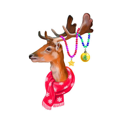 Digital christmas spotted deer portrait isolated on background. Merry Christmas symbol, Santas helper. Wild animal in red winter scarf and christmas decorations on his horns. Greeting card template