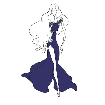 Vector fashion sketch. Beautiful model walking on runway in long blue dress with high cut and transparent chiffon insets. Skinny body silhouette, long hair, high heels. Haute couture fashion show Illustration