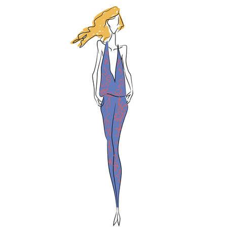 Croquis de mode vecteur. Belle mannequin marchant sur le podium en combinaison d'été à la mode en forme de v avec imprimé de fleurs. Silhouette de corps maigre, cheveux longs, talons hauts. Défilé Haute Couture, shooting photo Banque d'images - 85851014