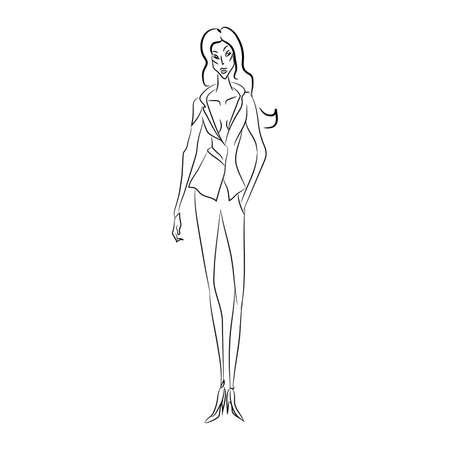 Croquis de mode vectorielle. Beau modèle de marche sur piste en costume de style affaires avec décollette en forme de V et pantalon étroit, chaussures classiques. Silhouette du corps maigre. Salon de la mode Haute Couture Banque d'images - 85851016