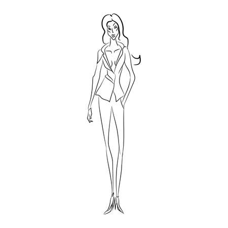 Vector fashion sketch. Beautiful model walking on runway in business style suit with v-shaped decollete and narrow trousers, classic shoes. Skinny body silhouette. Haute couture fashion show Illustration