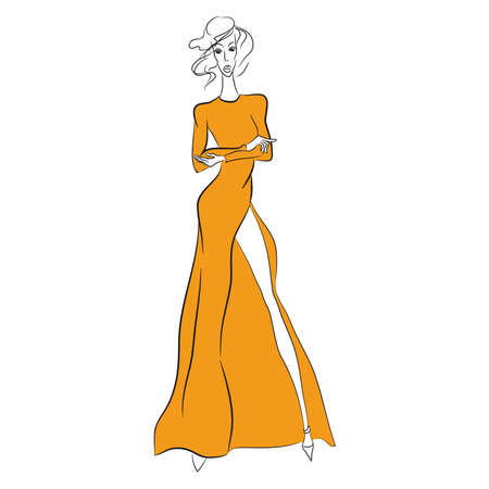 Vector fashion sketch. Beautiful model standing in long orange dress with high cut and long sleeves. Skinny body black silhouette isolated on white background, high heels. Haute couture fashion show
