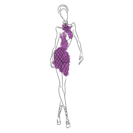 Vector fashion sketch. Beautiful model walking on runway in short purple dress with revealing decollete and transparent chiffon insets. Skinny body silhouette, high heels. Haute couture fashion show Illustration