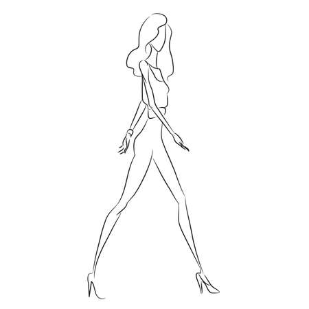 Vector mode schets. Mooi model dat op baan in zakelijke stijl jumpsuit, smalle broeken, leggins, klassieke hoge hels schoenen, armband loopt. Mager lichaamssilhouet. Haute couture modeshow