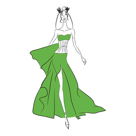 Vector fashion sketch. Beautiful model walking on runway in long olive dress with high cut and tight corset, laurel wreath. Skinny body silhouette, long hair, high heels. Haute couture fashion show