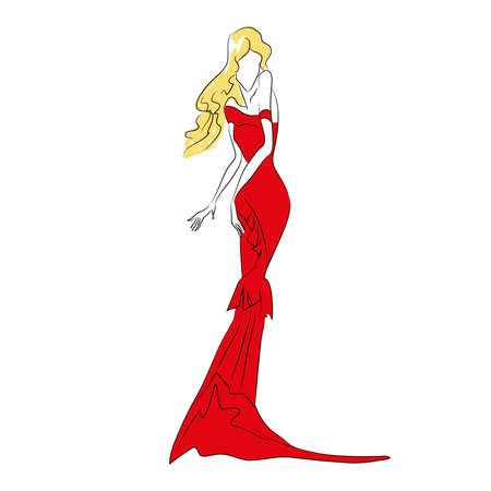 Vector fashion sketch. Beautiful  blonde model standing in long red dress with train, ruffles. Skinny body silhouette isolated on white background, broken doll posture. Haute couture fashion show