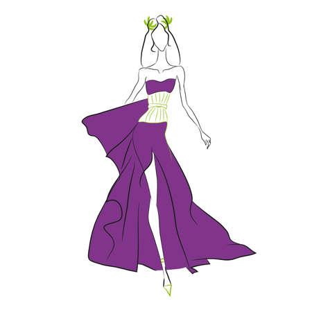 벡터 패션 스케치입니다. 아름 다운 모델 높은 잘라내 기와 꽉 올리브 코르 셋, 로렐 화 환 긴 보라색 드레스에 활주로 걷고. 스키니 몸 실루엣, 긴 머리