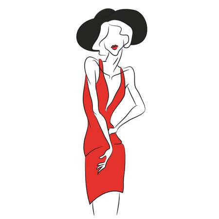 ベクトルのファッションのスケッチ。短い v 字の赤いドレスの写真撮影でポーズ美しいモデル。細いボディ シルエット、黒の帽子、柔らかな赤い唇