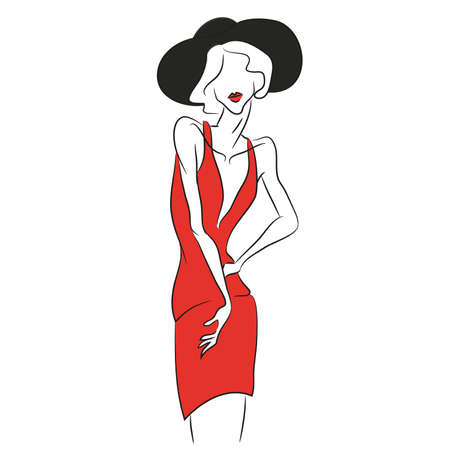 Vector fashion sketch. Beautiful model posing at photoshoot in short v-shaped red dress. Skinny body silhouette, black hat, soft red lips. Haute couture fashion show. Fashion magazine photoshooting Ilustração