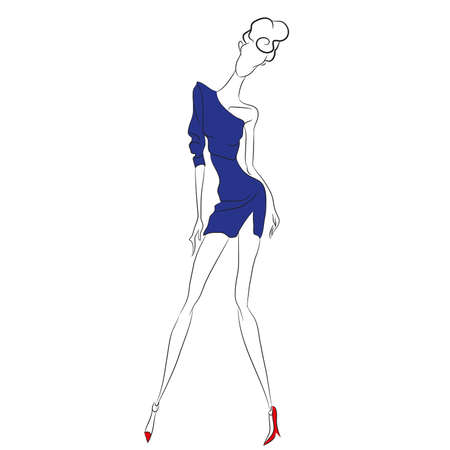 high: Vector fashion sketch. Beautiful model posing at photoshoot in short one-shoulder one-sleeve blue dress with cut. Skinny body silhouette, high heels, designer clothing. Haute couture fashion show