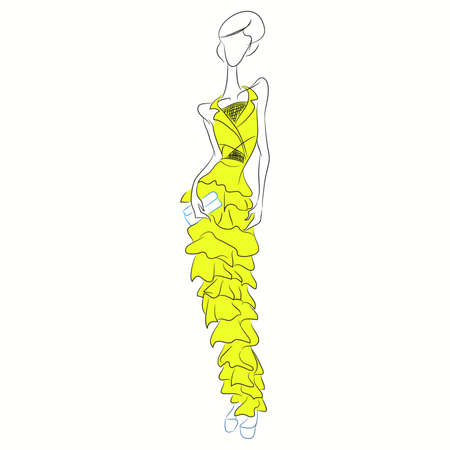 Vector fashion sketch. Beautiful model walking on runway in long yellow frill dress with clutch and transparent chiffon insets. Skinny body silhouette, high heels. Haute couture fashion show, event