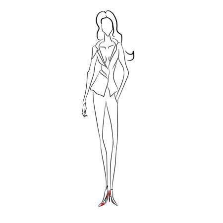 Vector fashion sketch. Beautiful model walking on runway in business style suit with v-shaped decollete and narrow trousers, classic red shoes. Skinny body silhouette. Haute couture fashion show