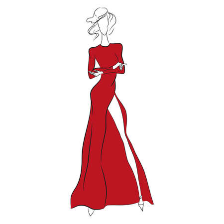 Vector fashion sketch. Beautiful model standing in long gorgeous red dress with high cut, long sleeves. Skinny body silhouette isolated on white background, high heels. Haute couture fashion show