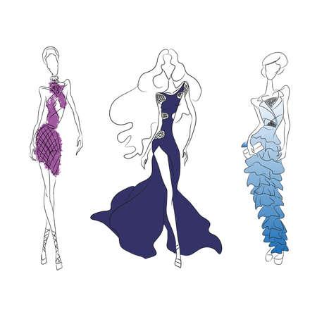 ベクトルのファッションのラインのスケッチ。ベクトルのアイコンのセットです。モデル高カット、ショート カクテル ドレス ロング ドレスで滑走
