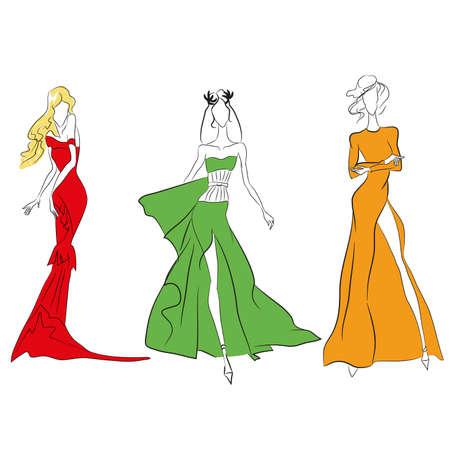 Vector Fashion Line Skizze. Set von Vektor-Icons. Modelle auf der Landebahn im langen Kleid mit hochgeschnittenem, kurzem Cocktailkleid. Skinny Körper Silhouette, lange Haare, High Heels. Haute Couture Modenschau Standard-Bild - 85851032