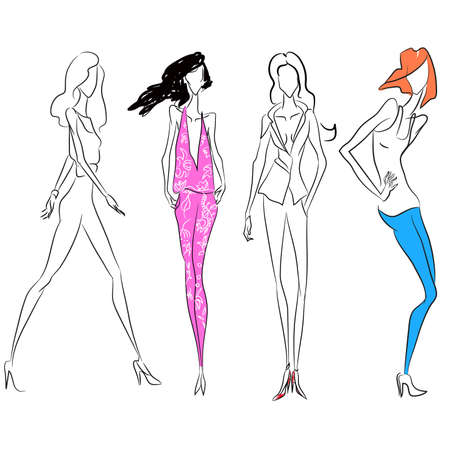 Vector fashion line sketch. Set of vector icons. Models posing at fashion magazine photoshooting or walking runway in official business style or casual style. Skinny body silhouette, high heels