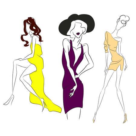 벡터 패션 라인 스케치입니다. 벡터 아이콘 세트입니다. 패션 잡지에서 포즈를 취하는 모델, 하이 컷, 짧은 칵테일 드레스가있는 긴 드레스. 스키니 몸