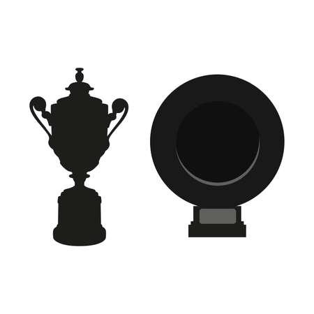 검은 컵과 접시 흰색 배경에 고립. 플랫 벡터 디자인 요소 그래픽 클립 아트 그림 일러스트