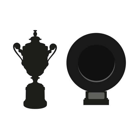 Black cup and dish isolated on white background. Flat vector design elements graphic clip art illustration