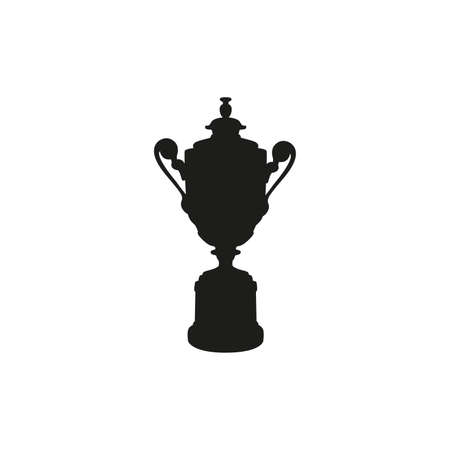 Black cup isolated on white background. Flat vector design element. Wimbledon man cup vector silhouette isolated on white. Competition winner prize trophy. Tennis symbol icon. Grand Slam Tournament Çizim