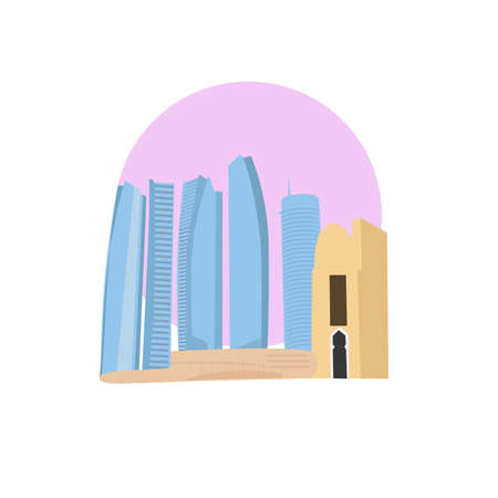 Abu Dhabi vector icon sign. United arab emirates capital monument. World famous landmark. UAE emerate symbol. Vector flat style design. Website, application button. Postcard, Postage Stamp, card Çizim