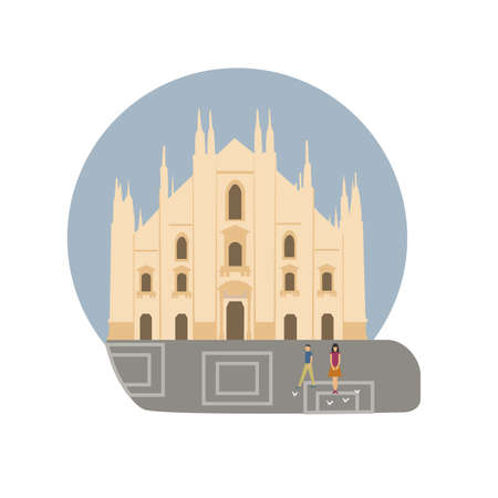Milan Cathedral vector icon sign. Italy capital monument. World famous landmark. Duomo di Milano church symbol. Vector flat style design. Website, application button. Postcard, Postage Stamp, card Illustration