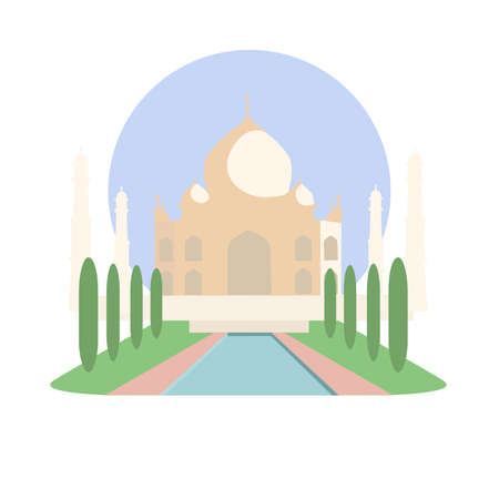 Taj Mahal 벡터 아이콘 기호입니다. 아그라, 우타르 프라데시 주 인도 묘소 기념물입니다. 세계 유명한 인도 랜드 마크. 유네스코 세계 문화 유산 사이트  일러스트