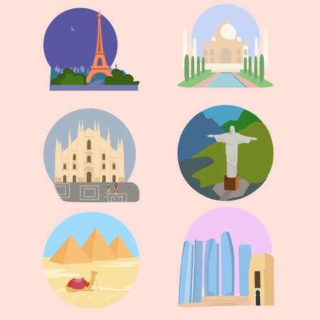 Famous landmarks: Abu Dhabi, Egyptian pyramids, Milan Cathedral, Duomo di Milano, Eiffel Tower, Tour Eiffel, Christ the Redeemer, Taj Mahal symbol. Vector flat design. Web appication buttons set