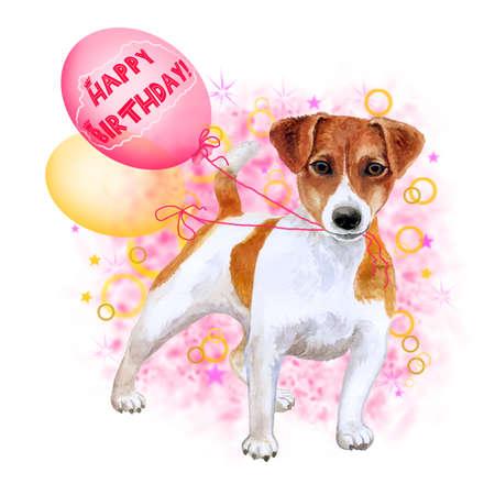 Aquarellnahaufnahmeporträt des netten Jack Russel-Terrierzuchtwelpen lokalisiert auf abstraktem Hintergrund. Welpe, der Ballone hält. Hand gezeichnetes süßes Haupthaustier. Alles Gute zum Geburtstaggruß-Kartendesign. Clip Art