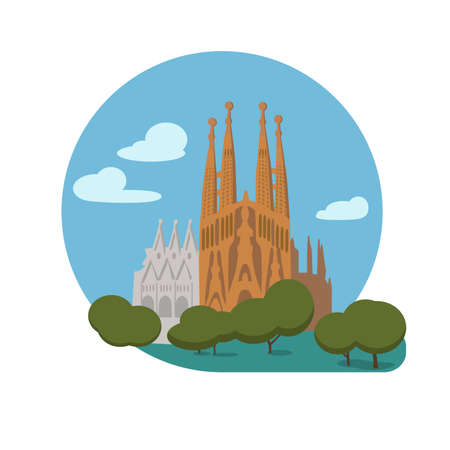 Basilica and Expiatory Church of the Holy Family vector icon sign. Roman Catholic church in Barcelona by Antoni Gaudi. World famous landmark. flat style design. Web application button. Postcard, Stamp Illustration