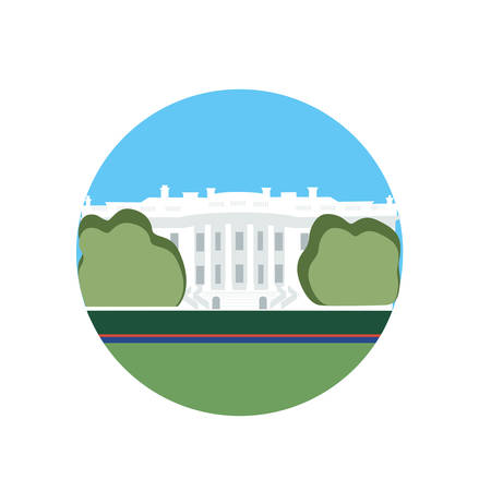 White House vector icon sign. Official residence of United States President in Washington. World famous landmark. Vector flat style design. Website, application button. Postcard, Postage Stamp, card Фото со стока - 85889720