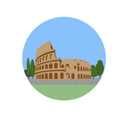 콜로세움, 콜로세움 벡터 아이콘 기호입니다. 플라 비우스 원형 극장 로마, 이탈리아에 있습니다. 세계 유명한 랜드 마크 상징입니다. 벡터 플랫 스타 일러스트