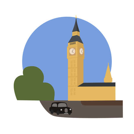 Big Ben vector icon sign. Great Bell clock, Elizabeth tower located in London city, Great Britain. World famous landmark. Vector flat style design. Website, application button. Postcard, stamp, card