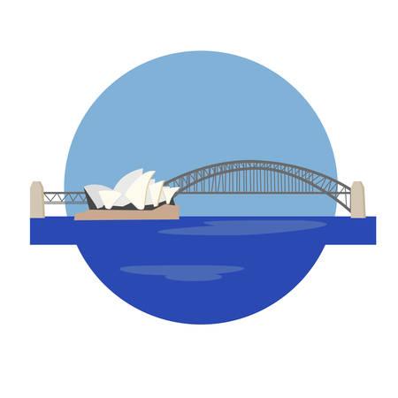 Vector het pictogramteken van het Sydney-operahuis. Centrum voor uitvoerende kunsten in Sydney, Australië. Wereldberoemde bezienswaardigheid. Vector vlakke stijl ontwerp. Website, applicatieknop. Briefkaart, stempel, kaart Stock Illustratie
