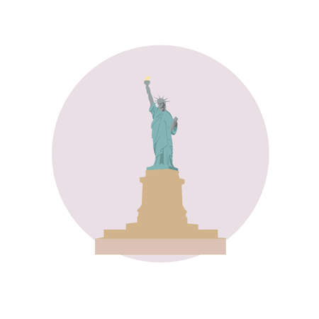 Statue of Liberty vector icon sign. Colossal neoclassical sculpture in New York city, NYC, USA. World famous landmark. Vector flat style design. Web, application button. Postcard, Postage Stamp, card Illustration